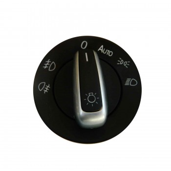 VDP190 Chrome Headlight Control Switch Knob With Auto For VW Seat Skoda: 3C8 941 431 A